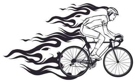 Cyclist with Flame Silhouette vector illustration art