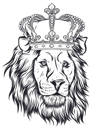 Vector illustration the lion king, the head of a lion in the crown, on a white background. Ilustración de vector