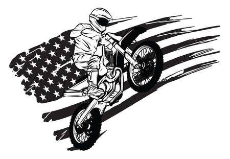 motocross rider ride the motocross bike vector illustration 向量圖像