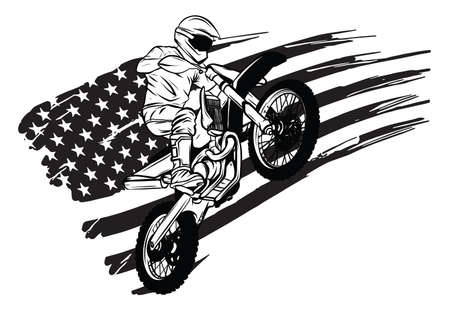 motocross rider ride the motocross bike vector illustration Illustration