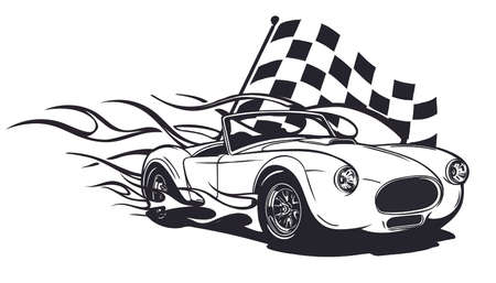 Car muscle old 70s vector illustration with flames  イラスト・ベクター素材