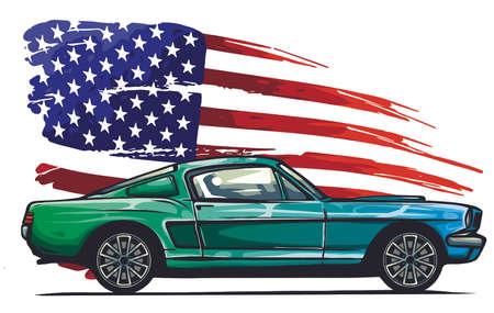 vector graphic design illustration of an American muscle car Vettoriali