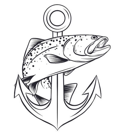 fish anchor vector illustration line art quality