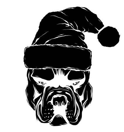 Christmas card. Poster of portrait bulldog in a Santa s hat. Vector illustration.  イラスト・ベクター素材
