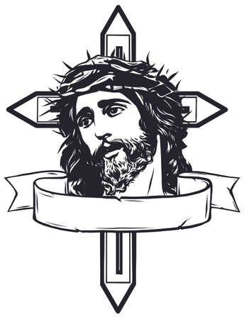 vector illustration of jesus christ carrying cross