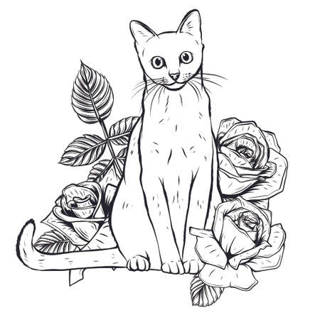 hand drawn ink doodle cat and flowers on white background. vector Illustration