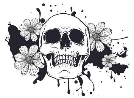 Human skull and flower wreath. Los muertos. Vector.