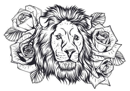 Embroidery colorful pattern with lion and crown. Vector traditional folk fashion ornament on black background.
