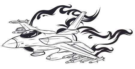 Vector Cartoon Fighter Plane. Twin-engine, variable-sweep wing multirole combat aircraft.  イラスト・ベクター素材