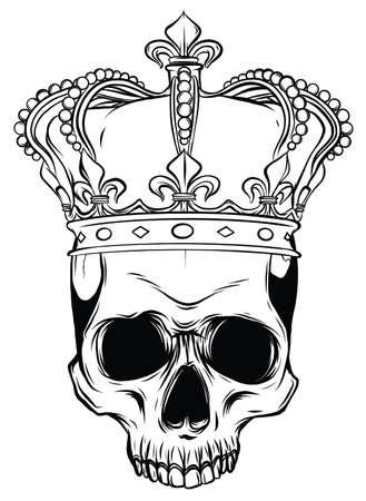 Hand drawn king skull wearing crown. Vector illustration 일러스트