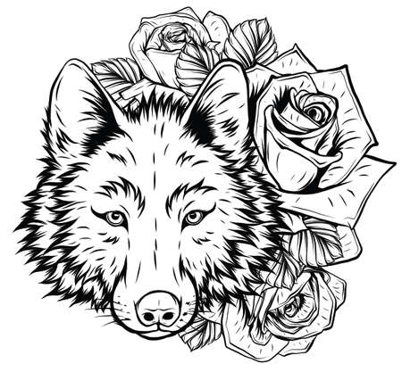 A beautiful wolf or dog in a wreath of wild rose. Vector illustration for postcard or poster, print for clothes. Spring and summer, a bouquet of flowers.