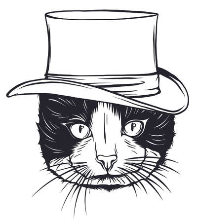 vector animal, portrait of cat in tall hat  イラスト・ベクター素材