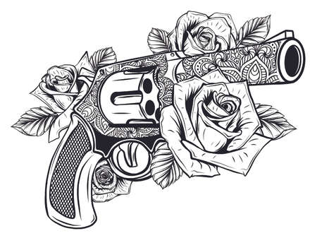 Pair of crossed guns and rose flowers drawn in tattoo style. illustration. Ilustracja