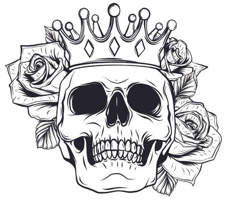 King of death. Portrait of a skull with a crown and lipstick. 向量圖像