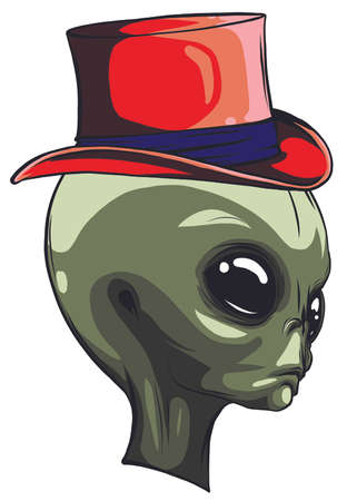 Alien face isolated on white photo-realistic vector illustration