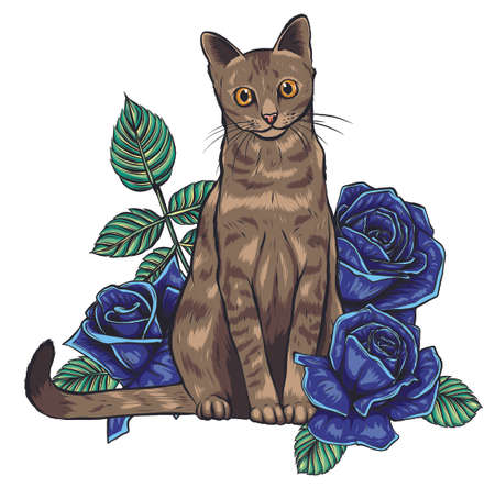 hand drawn ink doodle cat and flowers on white background.