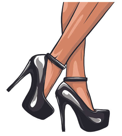 Sexy legs with black high heels vector illustration