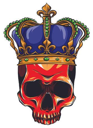 Hand drawn king skull wearing crown. Vector illustration  イラスト・ベクター素材