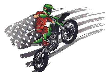 motocross rider ride the motocross bike vector illustration  イラスト・ベクター素材