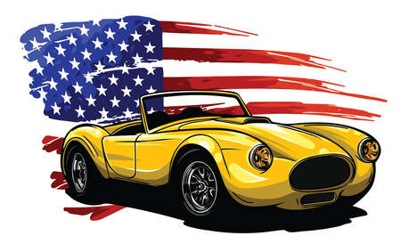 Vector badge executed in retro print style with colors misregistration effect on the background of American symbolism.