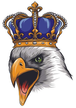 Mascot with crowned American eagle. illustration vector