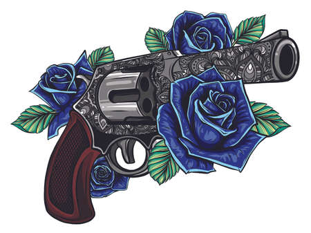 guns and rose flowers drawn in tattoo style. illustration.