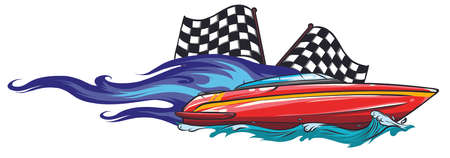 boat race Icon Vector Illustration with fire 向量圖像