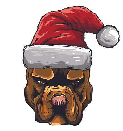Hand drawn dog. American Bulldog in a red Santa Claus hat vector