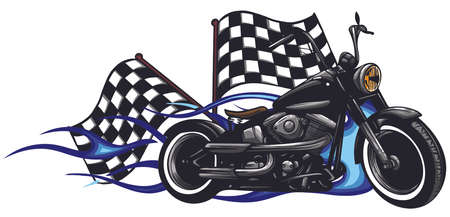 vector illustration Flaming Bike Chopper Ride Front View  イラスト・ベクター素材