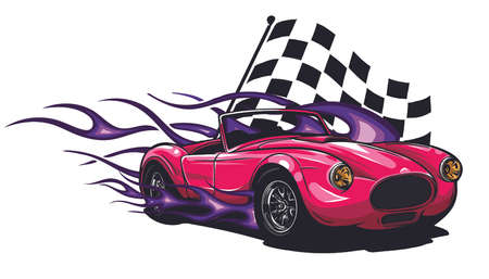 Muscle Car with flames and race flag