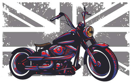vector Custom Motorbike with great britain flag in background