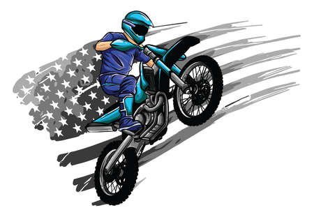 Motocross rider on a motorcycle - Illustration vector 向量圖像
