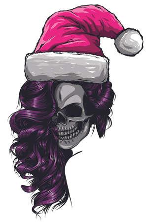 skull wearing Santa Claus hat