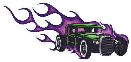 vector muscle car with flames Crazy race  イラスト・ベクター素材