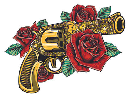 drawing of a gun with colored roses