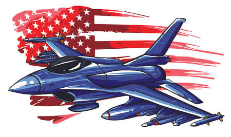 Military fighter jets isolated on background. Vector illustration
