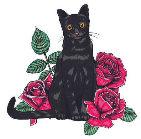 cartoon fluffy cat with roses. Siamese cat with open eyes and flowers. Coloring book for adults and children.
