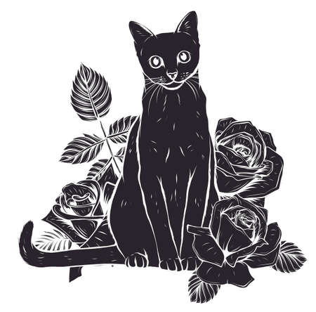 fluffy cat with roses. Siamese cat with open eyes and flowers.