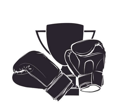Vintage Boxing Gloves vector illustration on white background