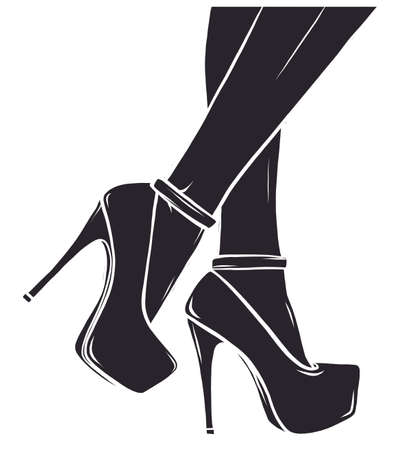 Vector illustration depicting the legs of a woman in high heels