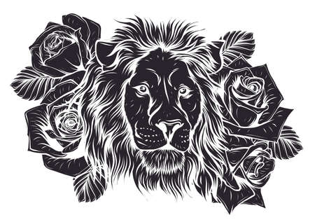The head of a lion in a flower ornament vector 向量圖像