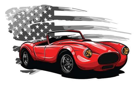 emblem muscle car silhouette vector on flag background illustration  イラスト・ベクター素材