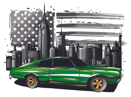 emblem muscle car silhouette vector on flag background illustration Foto de archivo - 134748558