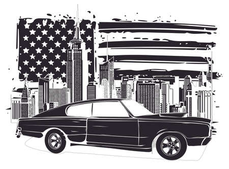 emblem muscle car silhouette vector on flag background illustration Foto de archivo - 134748565