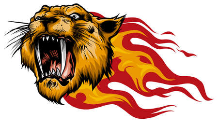 Head of a tiger in tongues of flame 向量圖像