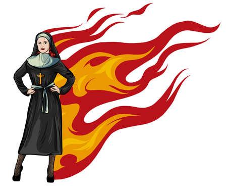 Purgatory nun in fire cartoon character vector