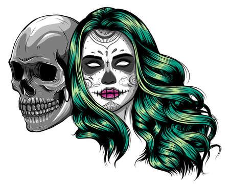Dead girl with two sugar skulls. vector illustration Standard-Bild - 141833577
