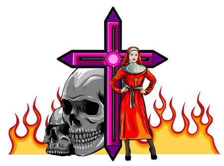 Devil nun with skull evil. Halloween concept. Flat design vector