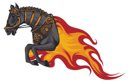 Horse silhouettes with flame tongues. Vector illustration. Ilustrace
