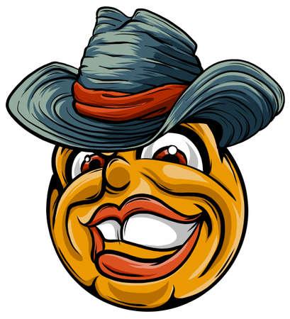 Cute smiling emoticon wearing cowboy hat, emoji, smiley